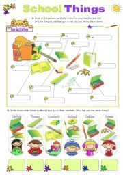 English worksheet: School Things  -  Vocabulary exercises