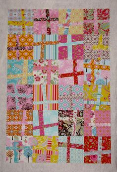 Wonky Cross quilt : Pretty Little Things Cute Quilts, Scrappy Quilts, Easy Quilts, Small Quilts, Sampler Quilts, Quilting Projects, Quilting Designs, Quilt Inspiration, Plus Quilt