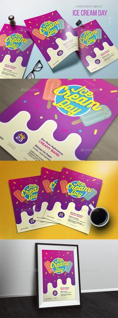 Ice Cream Day Flyer / Poster Template PSD, AI