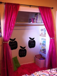 Turned my daughter's unused closet into a play nook!