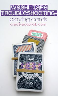 Washi Tape Meets Incomplete or Identical Playing Cards: Helpful, cute solution for playing games that need multiple unique decks :)