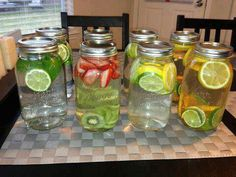 Healthy homemade infused waters.  1. Green tea, mint, lime-fat burning, digestion, headaches, congestion and breath freshener.  2. Strawberry, kiwi-cardiovascular health, immune system protection, blood sugar regulation, digestion.  3. Cucumber, lime, lemon- water weight management, bloating, appetite control, hydration, digestion  4. Lemon, lime, orange- digestion vitamin C, immune defense, heartburn, (Drink this one at room temperature)