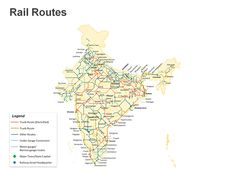 Editable PowerPoint Map: Networks in India Transportation Map
