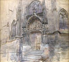 """Giovanni Boldini (Italian, 1842-1931) """"Portale della chiesa di Saint-Germain ad Amièns"""" 1883 Collezione privata"""