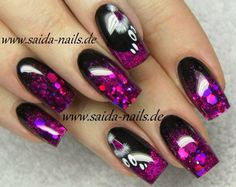 Black And Purple Nails, Glittery Nails, Gorgeous Nails, Cute Nails, Gel Nails, Nail Designs, Nail Art, Pretty, Beauty