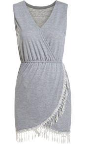 Grey V Neck Sleeveless Tassel Slim Dress