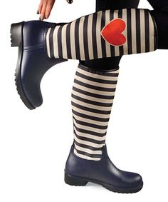 Look at this #zulilyfind! Silence of The Bees Navy Stripe Rain Boot by Silence of The Bees #zulilyfinds