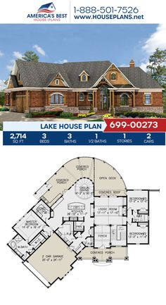Designed for a gorgeous lake view, Plan 699-00273 details 2,714 sq. ft., 3 bedrooms, 3.5 bathrooms, split bedrooms, a kitchen island, and a home office. #lakehouse #lakehome #architecture #houseplans #housedesign #homedesign #homedesigns #architecturalplans #newconstruction #floorplans #dreamhome #dreamhouseplans #abhouseplans #besthouseplans #newhome #newhouse #homesweethome #buildingahome #buildahome #residentialplans #residentialhome