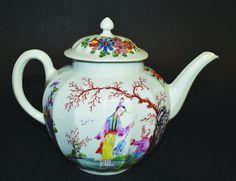 A WORCESTER OR CHRISTIAN LIVERPOOL FACETTED TEAPOT AND : Lot 1217 A WORCESTER OR CHRISTIAN LIVERPOOL FACETTED TEAPOT AND COVER painted with the Beckoning Chinaman pattern. The pattern and shape was made at both Worcester and Liverpool but a great rarity from either factory.