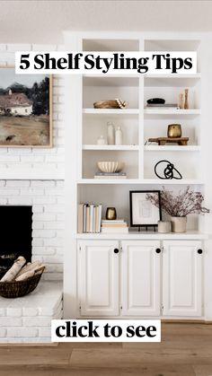 Built In Shelves Living Room, Built In Bookcase, Bookshelf Styling, Bookcases, In Wall Shelves, Shelf Ideas For Living Room, Diy Built In Shelves, Kitchen Bookcase, Office Bookshelves