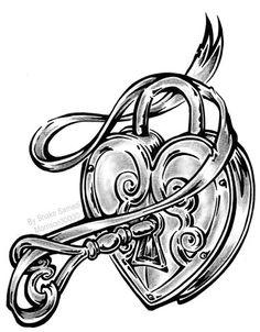 31 Best Heart Lock Key Tattoo Design Outline Images Lock Key
