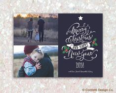 Merry Christmas Card, Photo Holiday Card, Family Photo Card, Printable Christmas Card, Christmas decoration card by ConfettiDesignCo on Etsy