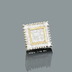 Round Princess Cut Baguette Diamond Stud Earring 0.51ct 14K Gold