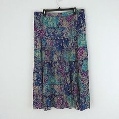 Chaudry KC Women's Peasant Skirt-BLACK MULTI FLORAL-Small-NWT
