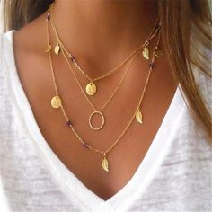 ❥ Jewelry Always Fits❥ ≫∙∙Boho Summer Gold Layer Necklace Trendy Jewelry ∙∙≪#Jewelry #Boho #Ethnic #Jewelry #Boho #Turquoise #Summer