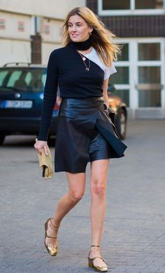 Camille Charrière in a Beaufille top, Lala Berlin skirt, Loewe bag and Jimmy Choo shoes