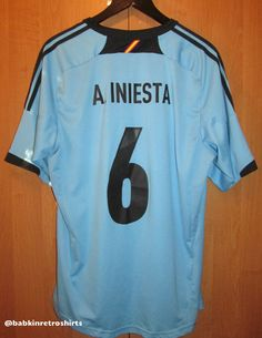 Spain away football shirt Andres Iniesta by Adidas camiseta jersey NT Espana 8423c9e60fd56