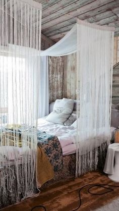 Beads and string bedroom curtain idea
