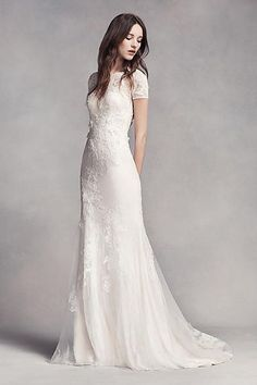 White by Vera Wang Short Sleeve Lace Wedding Dress VW351312