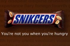 Conditional: If you are hungry, then you are not you. False Converse: If you are not you, then you are hungry. False Inverse: If you are not hungry, then you are you. True Contrapositive: If you are you, then you are not hungry. Snickers Chocolate, Clever Advertising, Creative Review, Creative Ideas, Math Jokes, Swipe File, Exhibition Poster, Guinness, Really Funny
