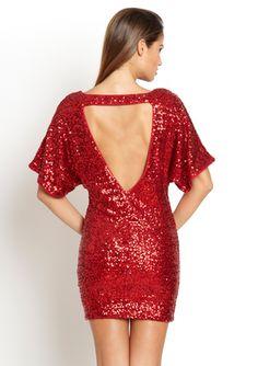 LA CITE Low Back Sequin Dolman Dress