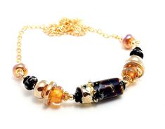 NEW! Elegant Lampwork Bead Necklace. Handmade Black-Gold Raku Dotted Focal Bead. Luminous Gold Accent Beads. Wearable Artisan Jewelry.