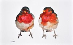Romantic robin couple ORIGINAL Watercolor bird by ArtCornerShop, $38.00