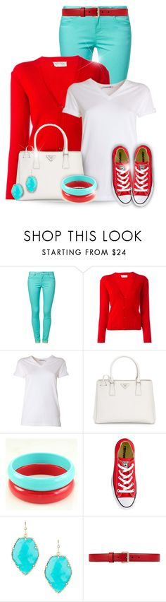 """Red, White and Turquoise Outfit"" by superstylist ❤ liked on Polyvore featuring even&odd, Pierre Cardin, T By Alexander Wang, Prada, Converse, Kendra Scott and Gucci"