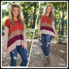 Only 1 left Shades of Fall Top Beyond Gorgeous .... Shades of Fall Top. Hi Lo hem. Size: S .Please do not PURCHASE but allow me to create you a personal listing . Brand new no tags. Price FIRM UNLESS bundled. ❌NO PP AND NO TRADES❌ Cloud 9 Tops Tunics