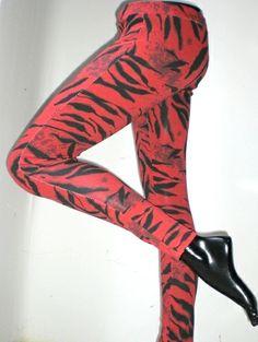 Leggings rossi motivo zebrato