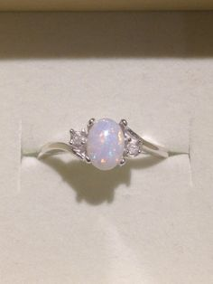 Australian Opal Ring - Genuine Orange and Blue Multicolor Opal Ring with Genuine White Zircons - 14K Optional - CUSTOM