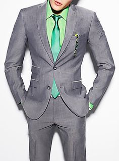 Suit up in green and metal grey men!