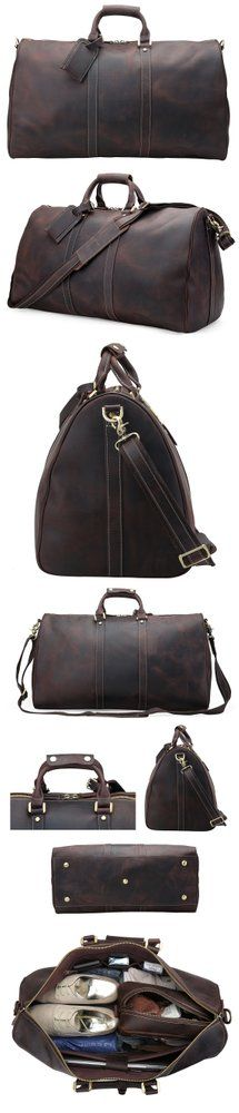 Image of VINTAGE HAND MADE ANTIQUE COW LEATHER TRAVEL BAG LUGGAGE DUFFLE BAG L51