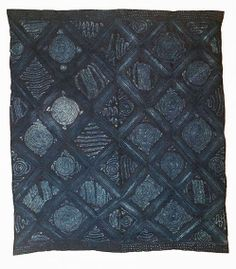 Africa   Adire alabere and oniko, 1975-86    Indigo dye with hand-stitched and tied resist on cotton