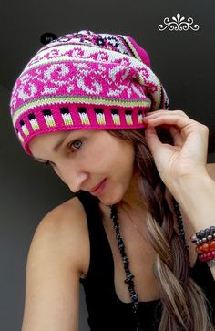 Handknit fair isle style slouchy hat with cotton blend yarn and in lovely hot pink.