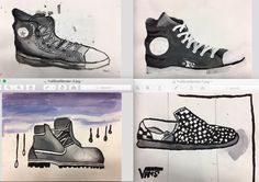 8th Grade Shoes concepts: value study, observational drawing, painting techniques, art elements howardkanter.com