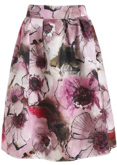 Red High Waist Floral Flare Skirt 15.33