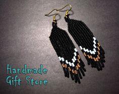 Beaded earrings Boho style long fringe by HandmadeGiftsStore