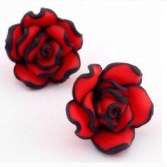 Red Rose Earrings Pretty red and black earrings. Lightweight! These are large... About the size of a quarter. New in package. Jewelry Earrings