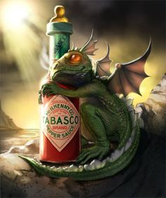 This is really strange. But I love hot sauce (Cholulua, Tapatio...) and dragons are cool. So this will stay.