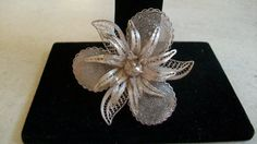 Vintage silver filigree brooch filigree orchid by JustforKate