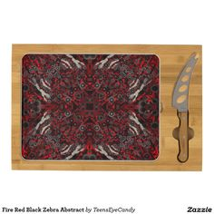 Fire Red Black Zebra Abstract Cheese Board