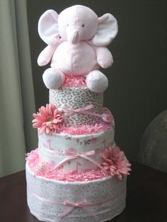 Pink Elephant Diaper Cake for Baby Girl by MrsHeckelDiaperCakes