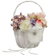 Chloe Flower Girl Basket - Satin basket decorated with a satin band and an organza flower with a rhinestone button in the center.