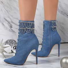 Denim Blue Beaded Fashion Booties