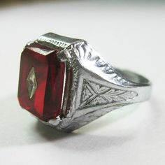 Art Deco Men's Ring Vintage 1930s Ruby Red by WickedDarling, $55.00