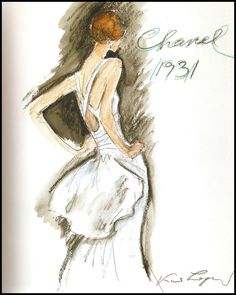 Sketch of a dress that Coco Chanel designed in 1931  by Karl Lagerfeld