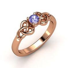 Round Tanzanite 14K Rose Gold Ring - Katarina Ring (4mm gem) | Gemvara