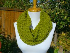 Simple seed stitch knit cowl. by BallAndHook on Etsy