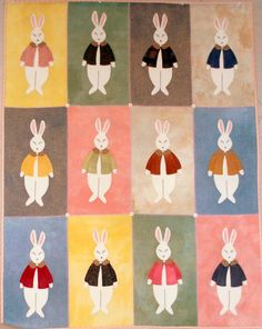 Snuggly Bunnies, 33 x 43, as seen at Pipers Girls.  A wool pattern by Bonnie Sullivan at All Through the Night.